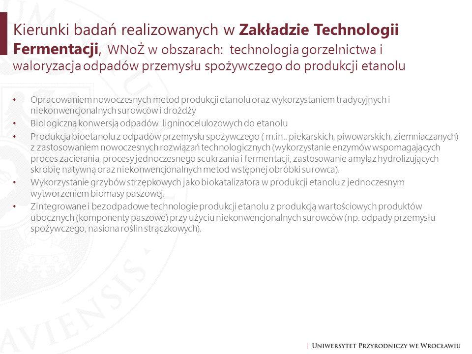 Kierunki badań realizowanych w Zakładzie Technologii Fermentacji, WNoŻ w obszarach: technologia gorzelnictwa i waloryzacja odpadów przemysłu spożywczego do produkcji etanolu