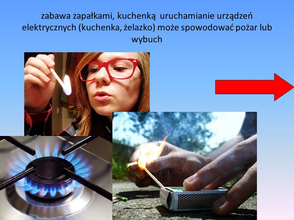 zabawa zapałkami, kuchenką uruchamianie urządzeń elektrycznych (kuchenka, żelazko) może spowodować pożar lub wybuch