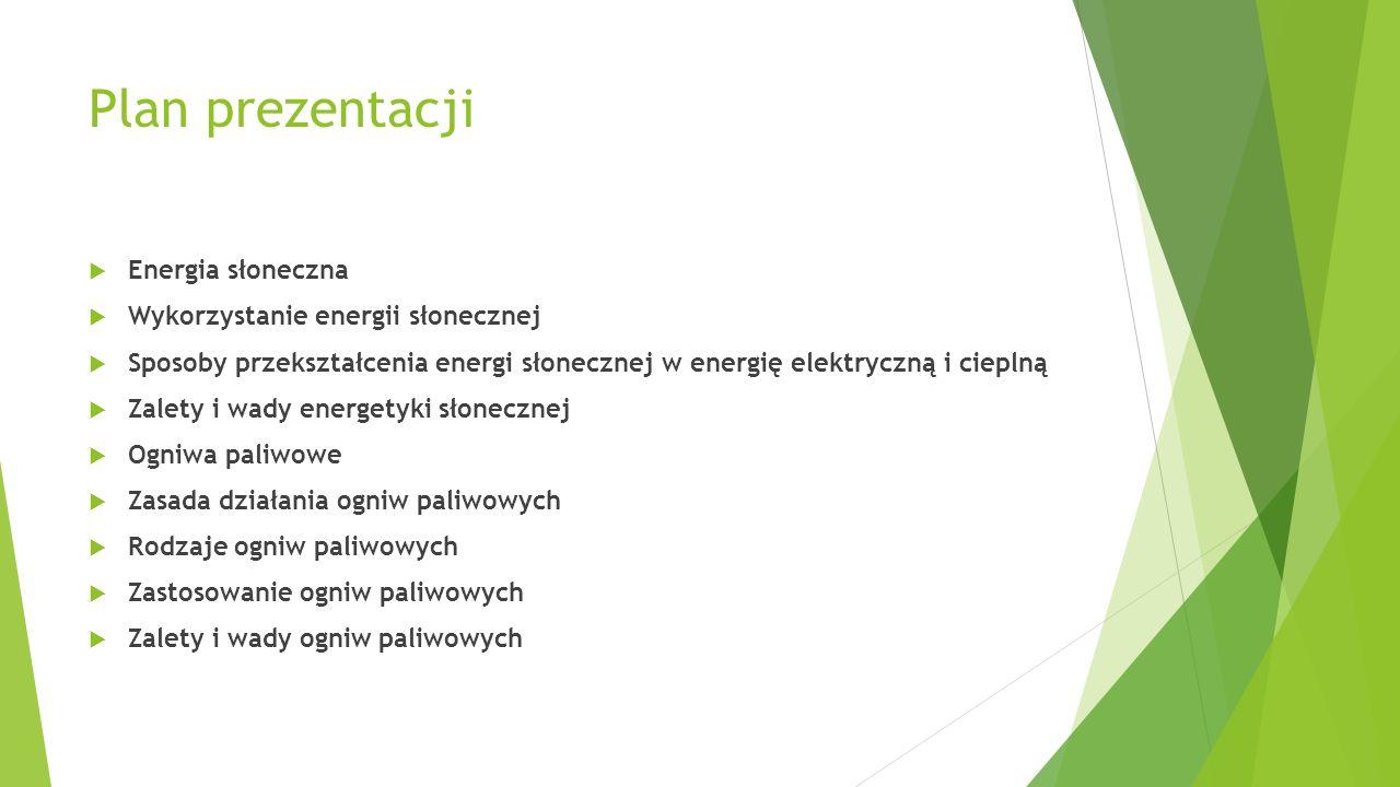 Plan prezentacji Energia słoneczna Wykorzystanie energii słonecznej