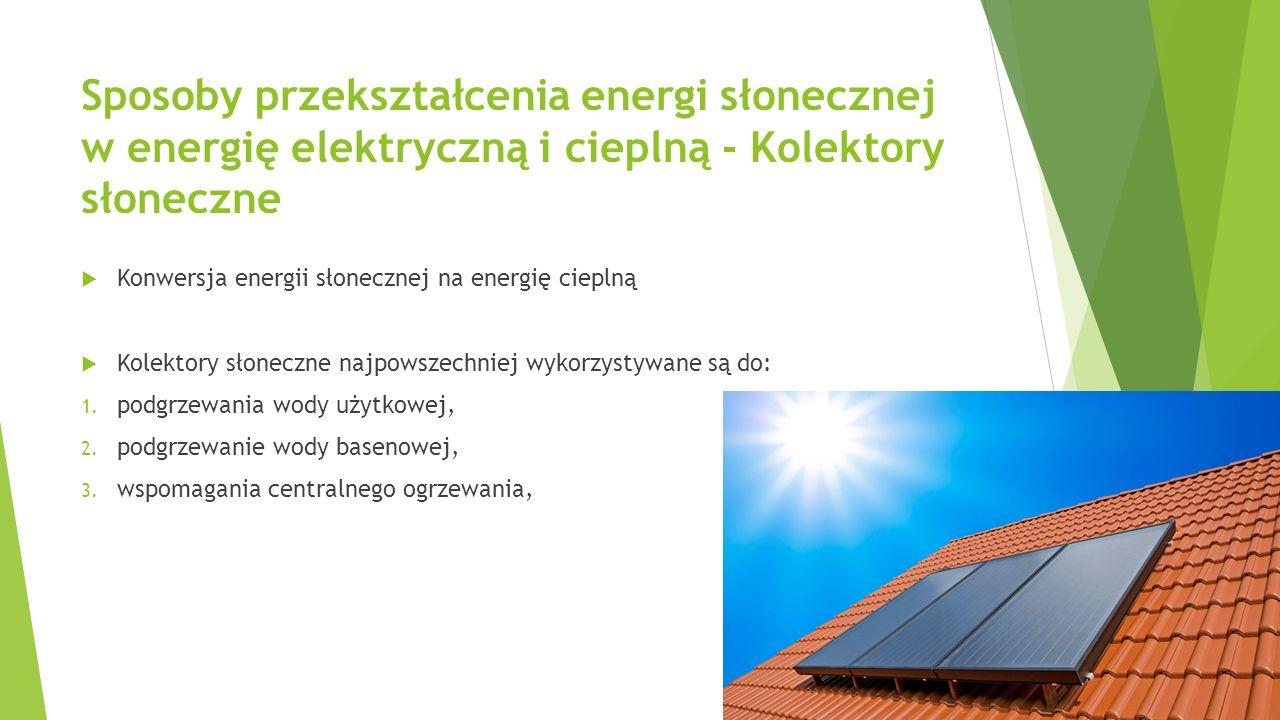 Sposoby przekształcenia energi słonecznej w energię elektryczną i cieplną - Kolektory słoneczne