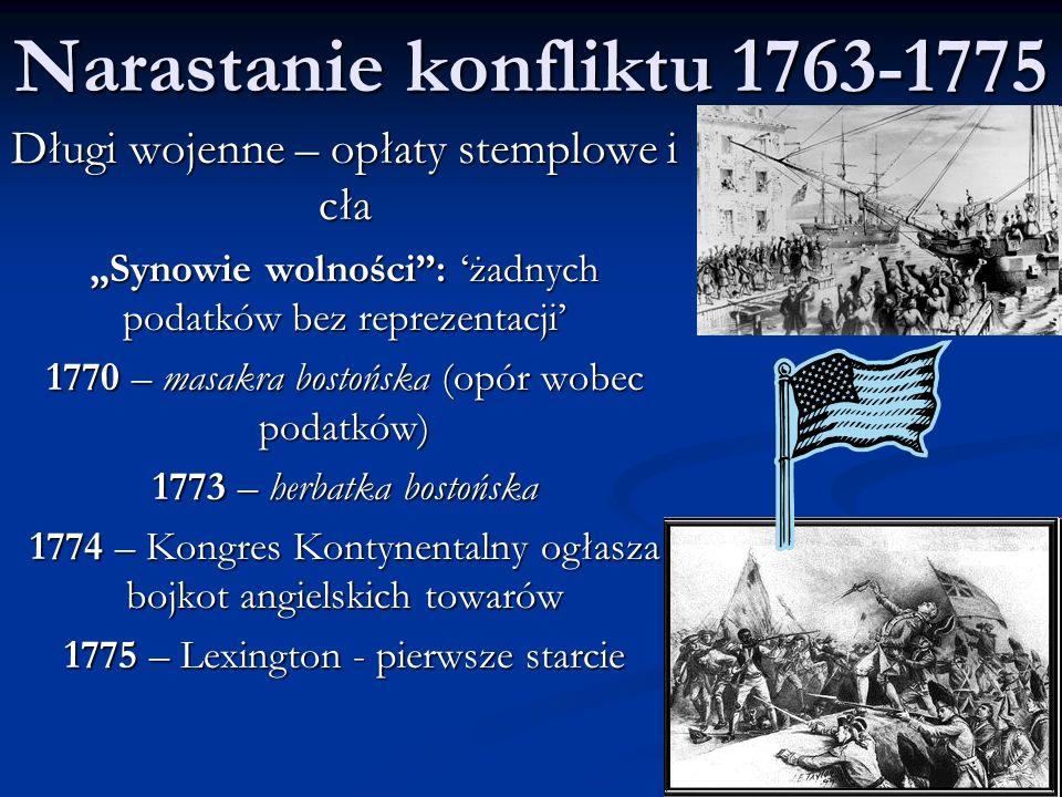 Narastanie konfliktu 1763-1775
