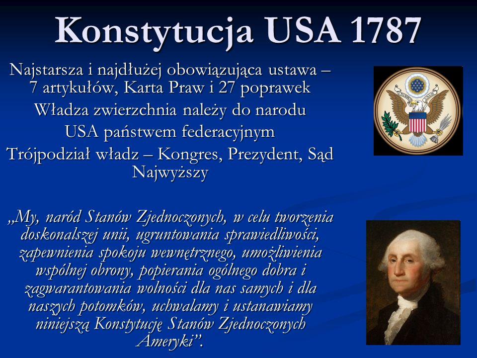 Konstytucja USA 1787 Najstarsza i najdłużej obowiązująca ustawa – 7 artykułów, Karta Praw i 27 poprawek.