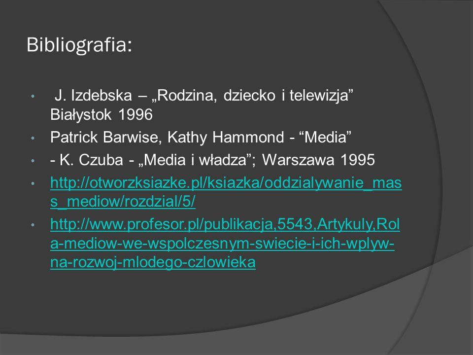 """Bibliografia: J. Izdebska – """"Rodzina, dziecko i telewizja Białystok 1996. Patrick Barwise, Kathy Hammond - Media"""