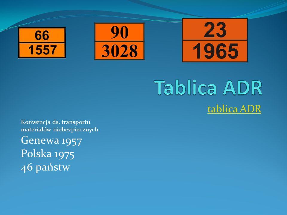 Tablica ADR Genewa 1957 Polska 1975 46 państw tablica ADR