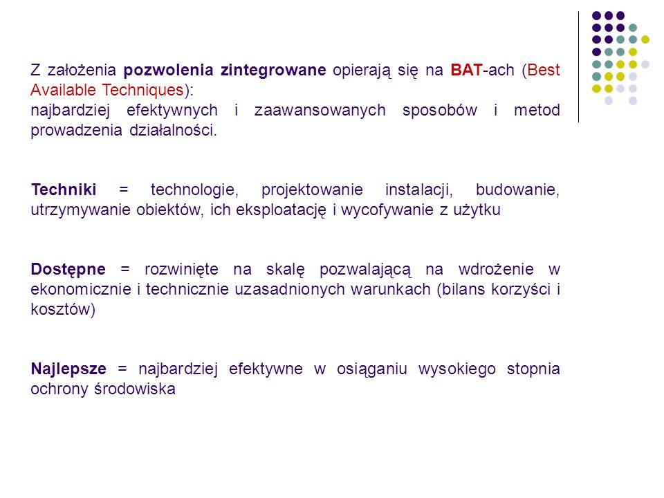 Z założenia pozwolenia zintegrowane opierają się na BAT-ach (Best Available Techniques):