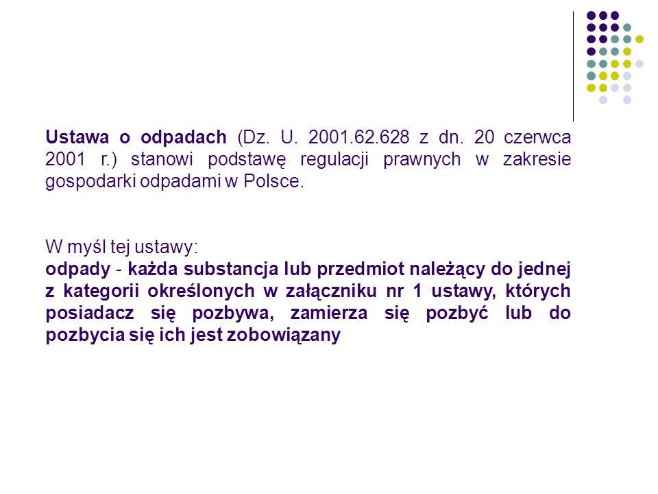 Ustawa o odpadach (Dz. U. 2001. 62. 628 z dn. 20 czerwca 2001 r