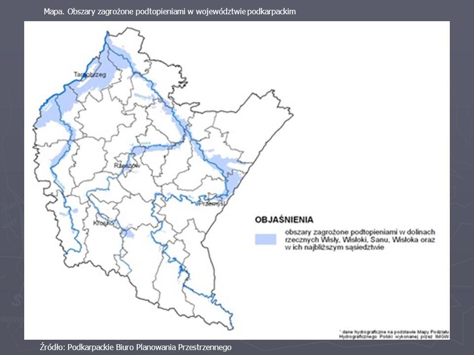 Mapa. Obszary zagrożone podtopieniami w województwie podkarpackim
