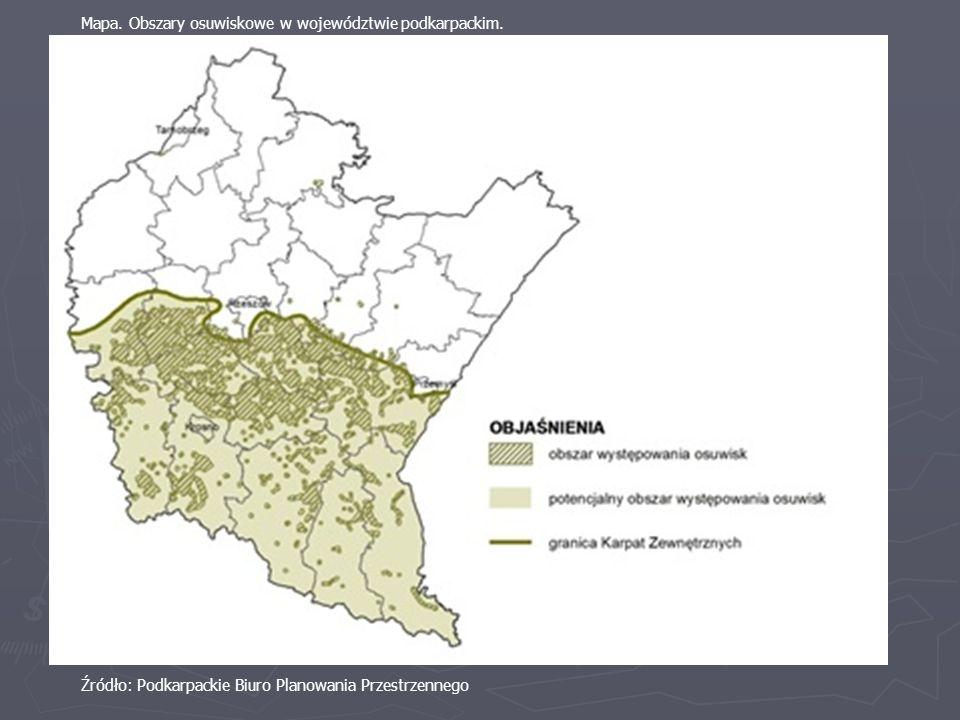 Mapa. Obszary osuwiskowe w województwie podkarpackim.