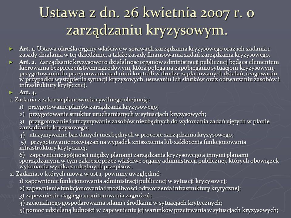 Ustawa z dn. 26 kwietnia 2007 r. o zarządzaniu kryzysowym.