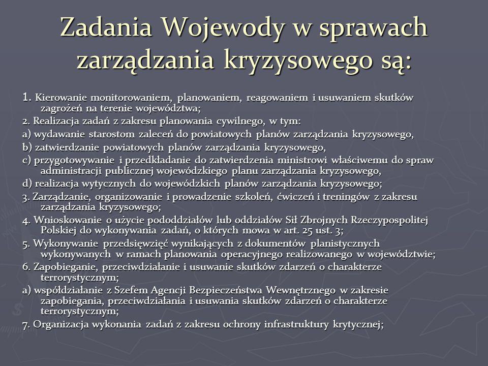 Zadania Wojewody w sprawach zarządzania kryzysowego są:
