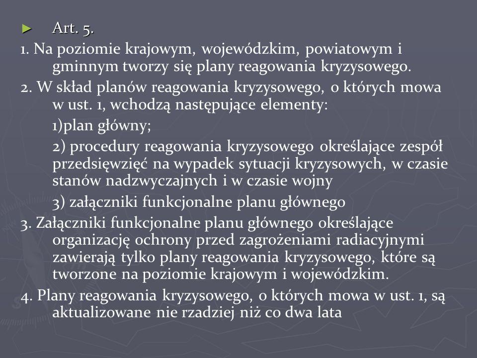 Art. 5. 1. Na poziomie krajowym, wojewódzkim, powiatowym i gminnym tworzy się plany reagowania kryzysowego.