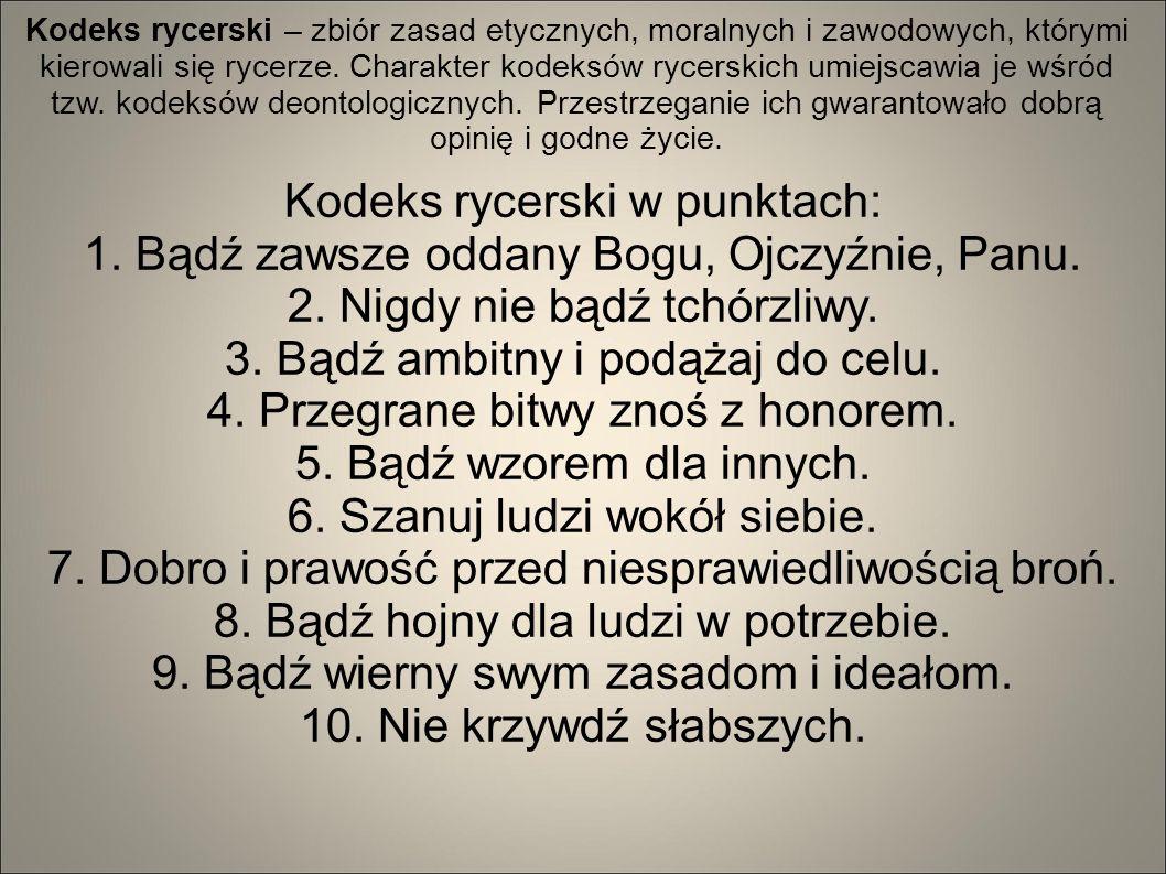 Kodeks rycerski w punktach: