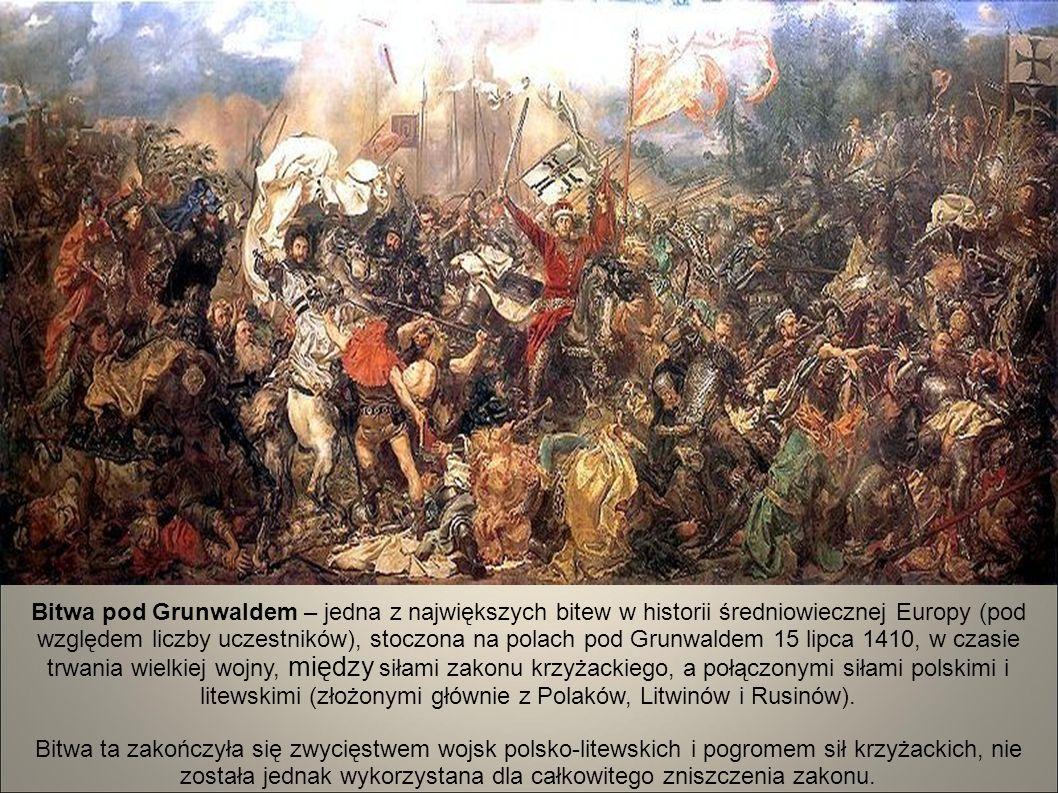 Bitwa pod Grunwaldem – jedna z największych bitew w historii średniowiecznej Europy (pod względem liczby uczestników), stoczona na polach pod Grunwaldem 15 lipca 1410, w czasie trwania wielkiej wojny, między siłami zakonu krzyżackiego, a połączonymi siłami polskimi i litewskimi (złożonymi głównie z Polaków, Litwinów i Rusinów). Bitwa ta zakończyła się zwycięstwem wojsk polsko-litewskich i pogromem sił krzyżackich, nie została jednak wykorzystana dla całkowitego zniszczenia zakonu.