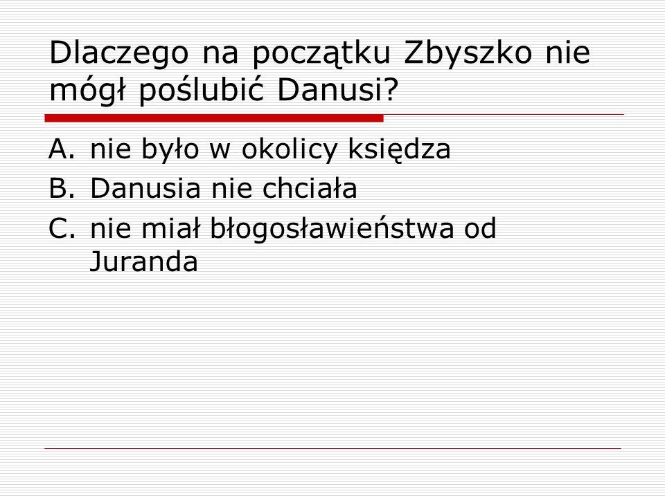 Dlaczego na początku Zbyszko nie mógł poślubić Danusi