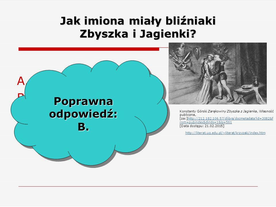 Jak imiona miały bliźniaki Zbyszka i Jagienki