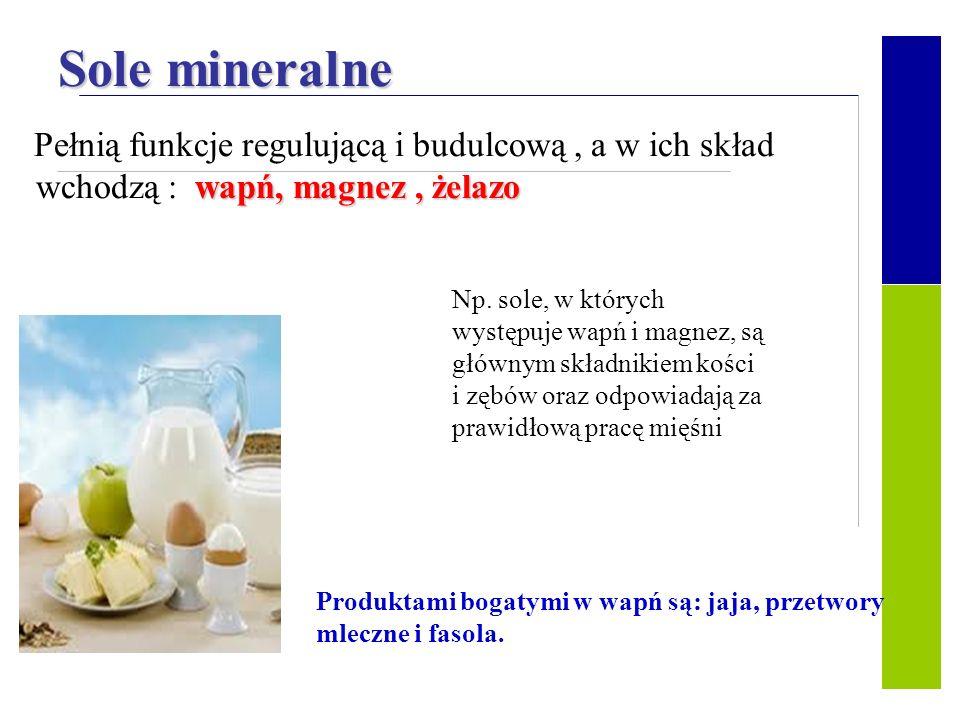 Sole mineralne wchodzą : wapń, magnez , żelazo