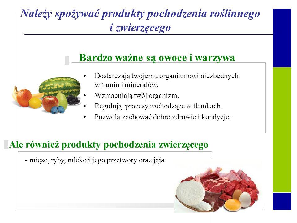 Należy spożywać produkty pochodzenia roślinnego i zwierzęcego