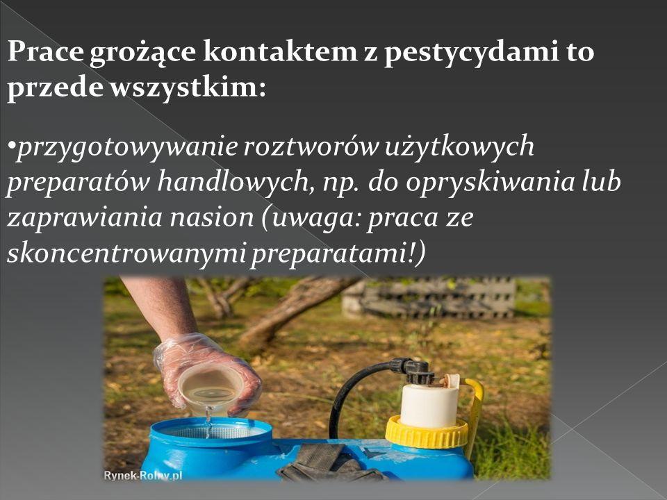 Prace grożące kontaktem z pestycydami to przede wszystkim: