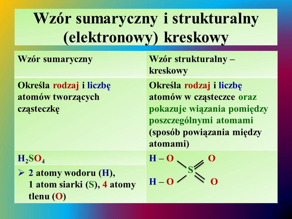 Wzór sumaryczny i strukturalny (elektronowy) kreskowy