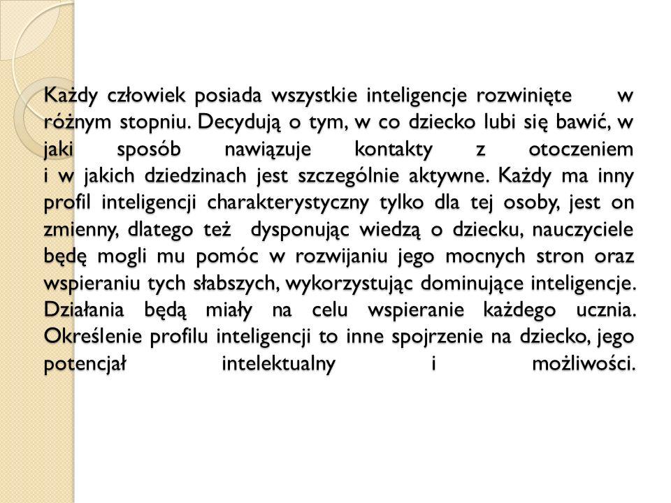 Każdy człowiek posiada wszystkie inteligencje rozwinięte w różnym stopniu.