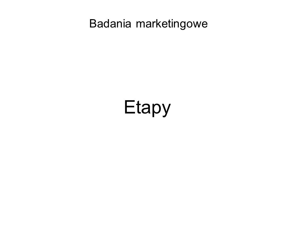 Badania marketingowe Etapy