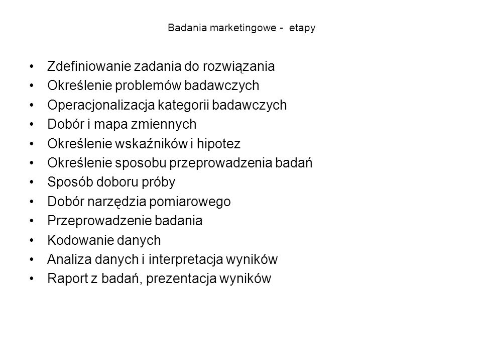 Badania marketingowe - etapy