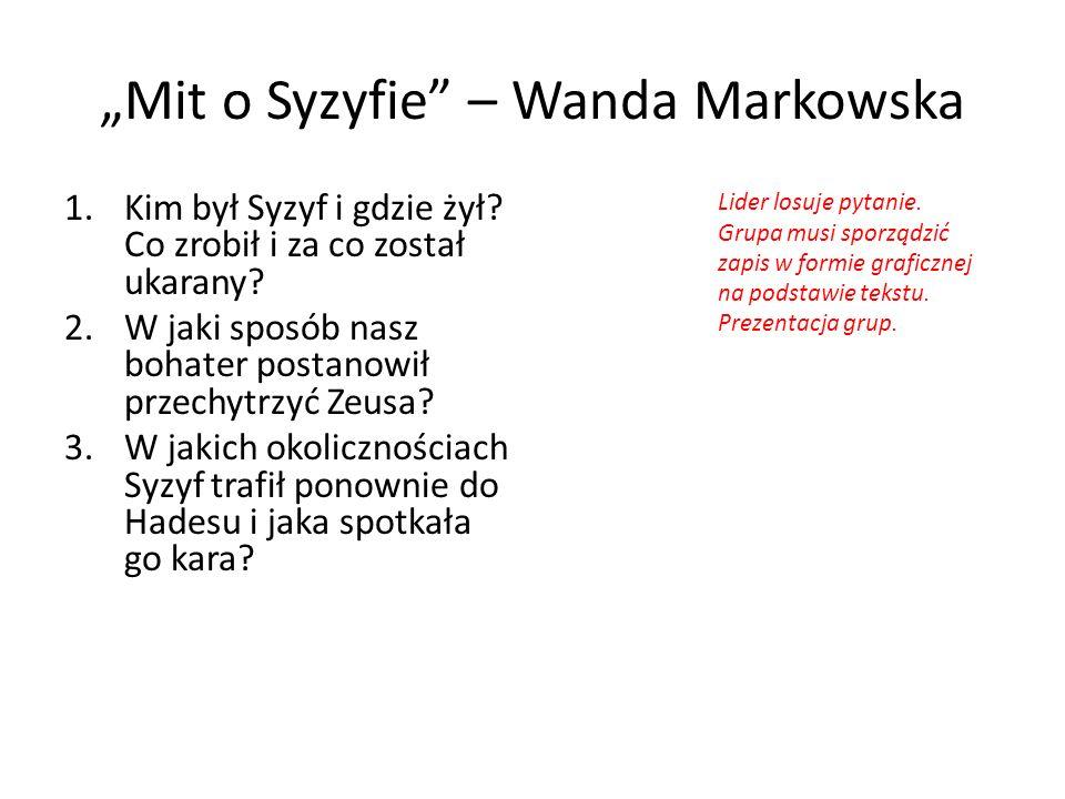 """""""Mit o Syzyfie – Wanda Markowska"""