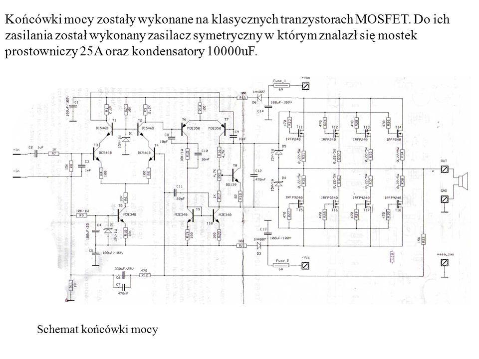 Końcówki mocy zostały wykonane na klasycznych tranzystorach MOSFET