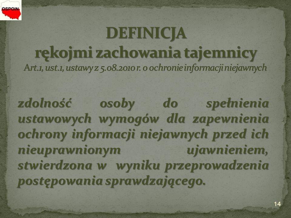 DEFINICJA rękojmi zachowania tajemnicy Art. 1, ust. 1, ustawy z 5. 08