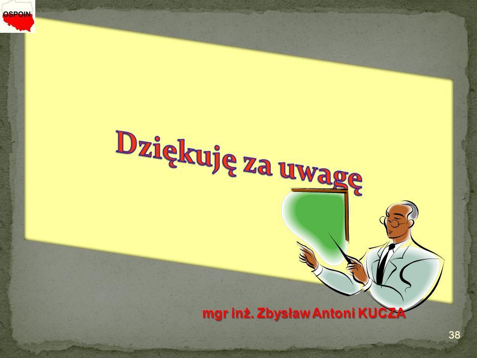 Dziękuję za uwagę mgr inż. Zbysław Antoni KUCZA