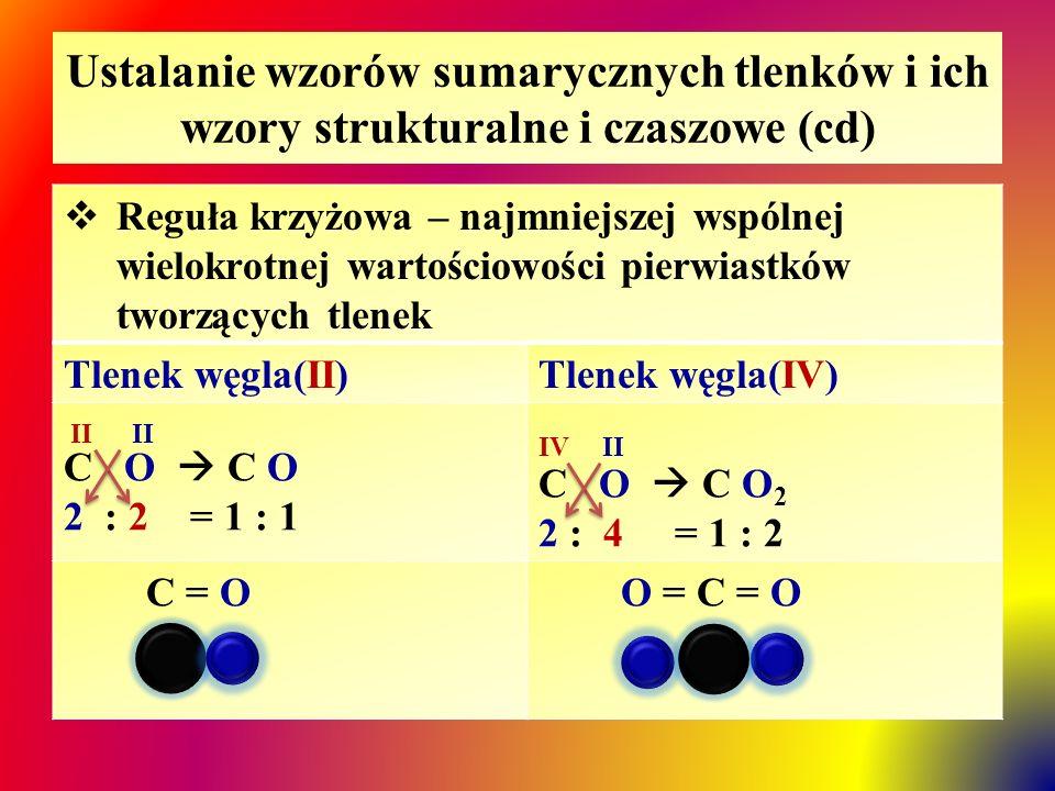 Ustalanie wzorów sumarycznych tlenków i ich wzory strukturalne i czaszowe (cd)