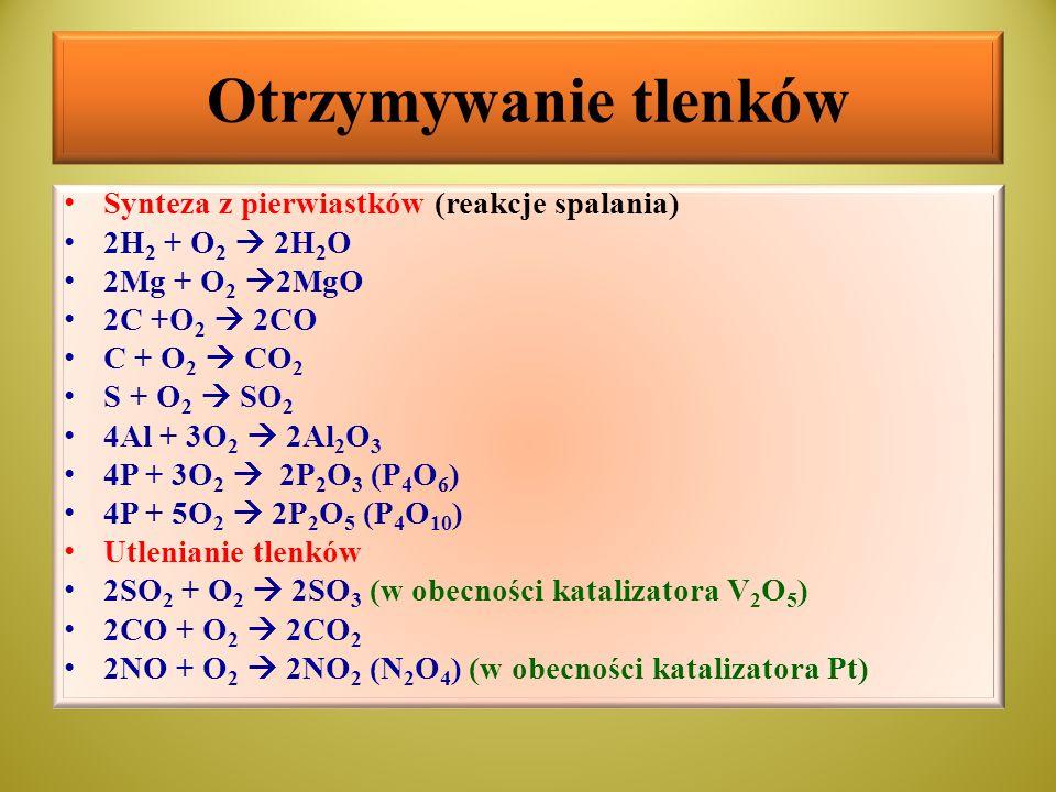 Otrzymywanie tlenków Synteza z pierwiastków (reakcje spalania)