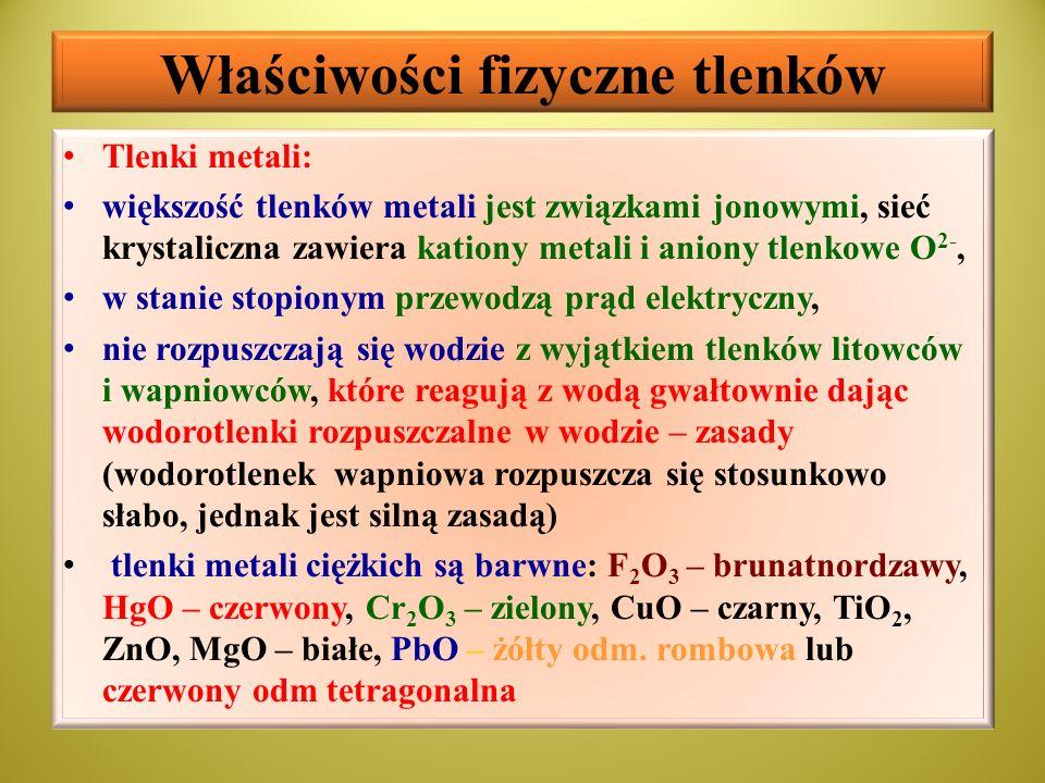 Właściwości fizyczne tlenków