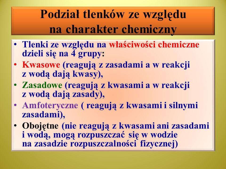 Podział tlenków ze względu na charakter chemiczny