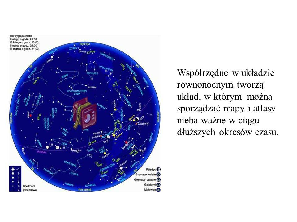 Współrzędne w układzie równonocnym tworzą układ, w którym można sporządzać mapy i atlasy nieba ważne w ciągu dłuższych okresów czasu.