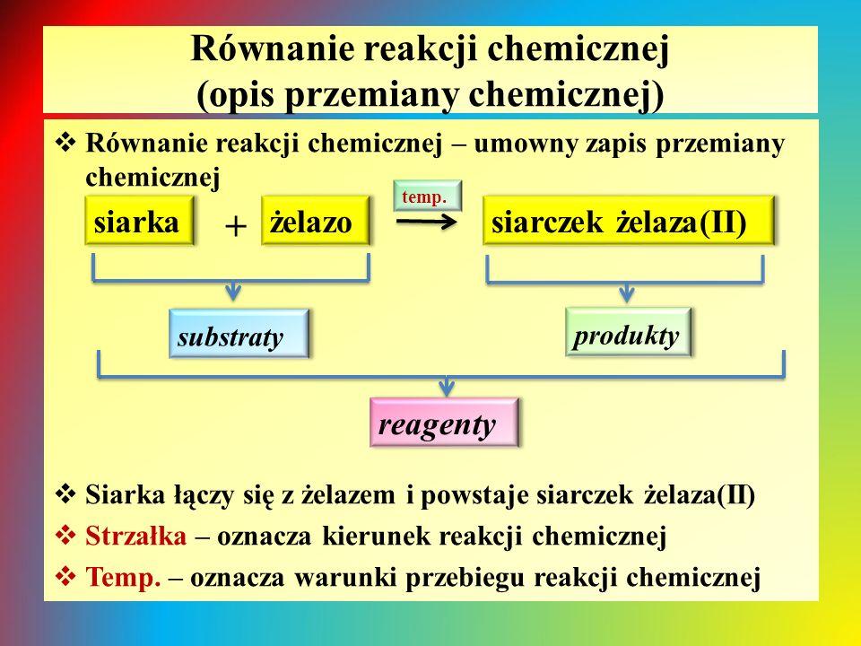 Równanie reakcji chemicznej (opis przemiany chemicznej)