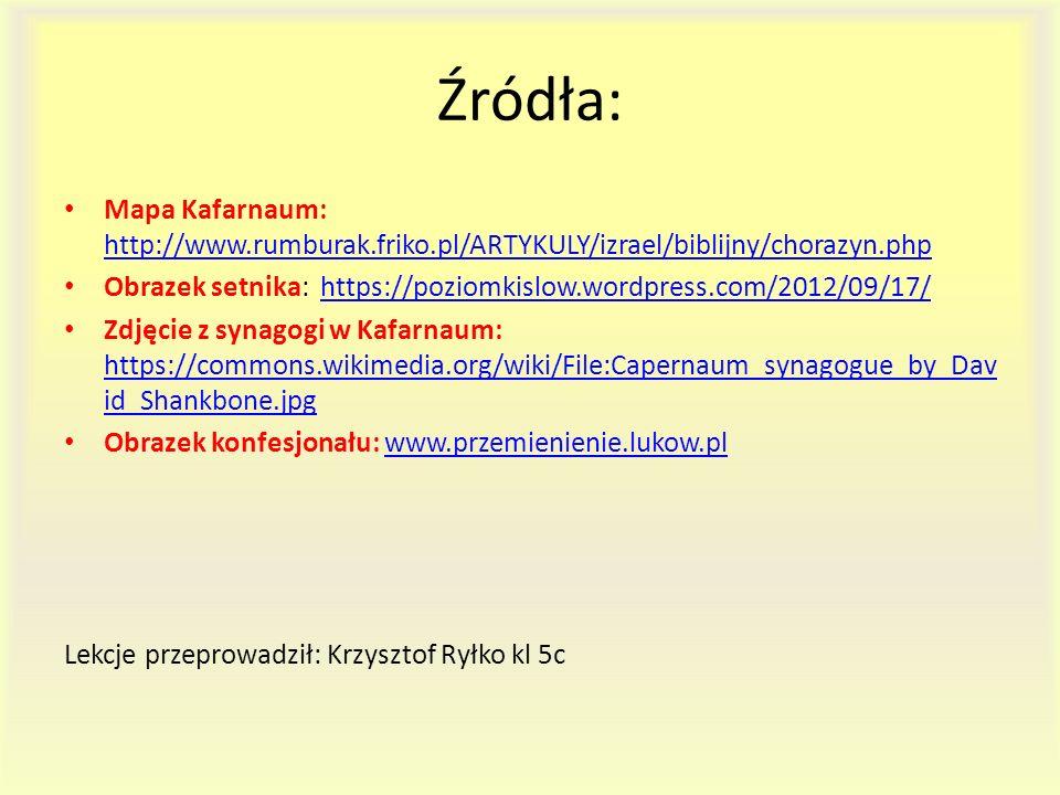 Źródła: Mapa Kafarnaum: http://www.rumburak.friko.pl/ARTYKULY/izrael/biblijny/chorazyn.php.