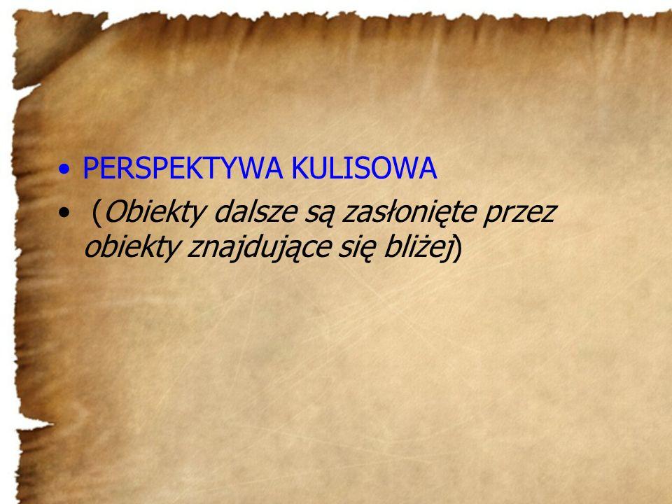 PERSPEKTYWA KULISOWA (Obiekty dalsze są zasłonięte przez obiekty znajdujące się bliżej)
