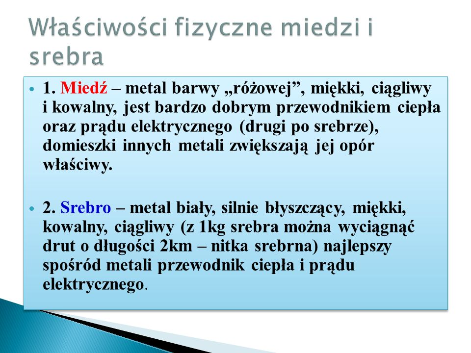 Właściwości fizyczne miedzi i srebra