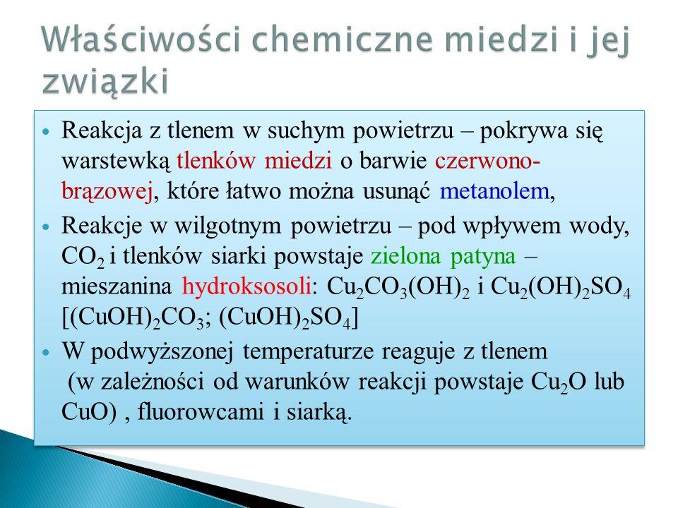 Właściwości chemiczne miedzi i jej związki
