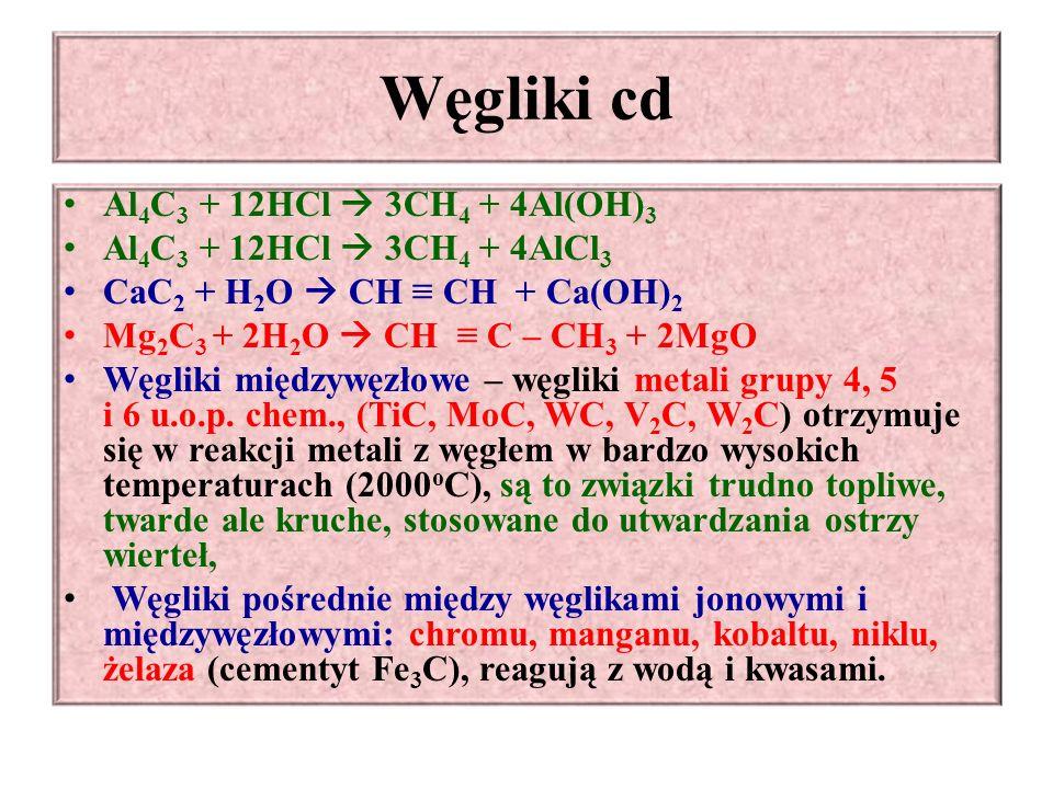 Węgliki cd Al4C3 + 12HCl  3CH4 + 4Al(OH)3