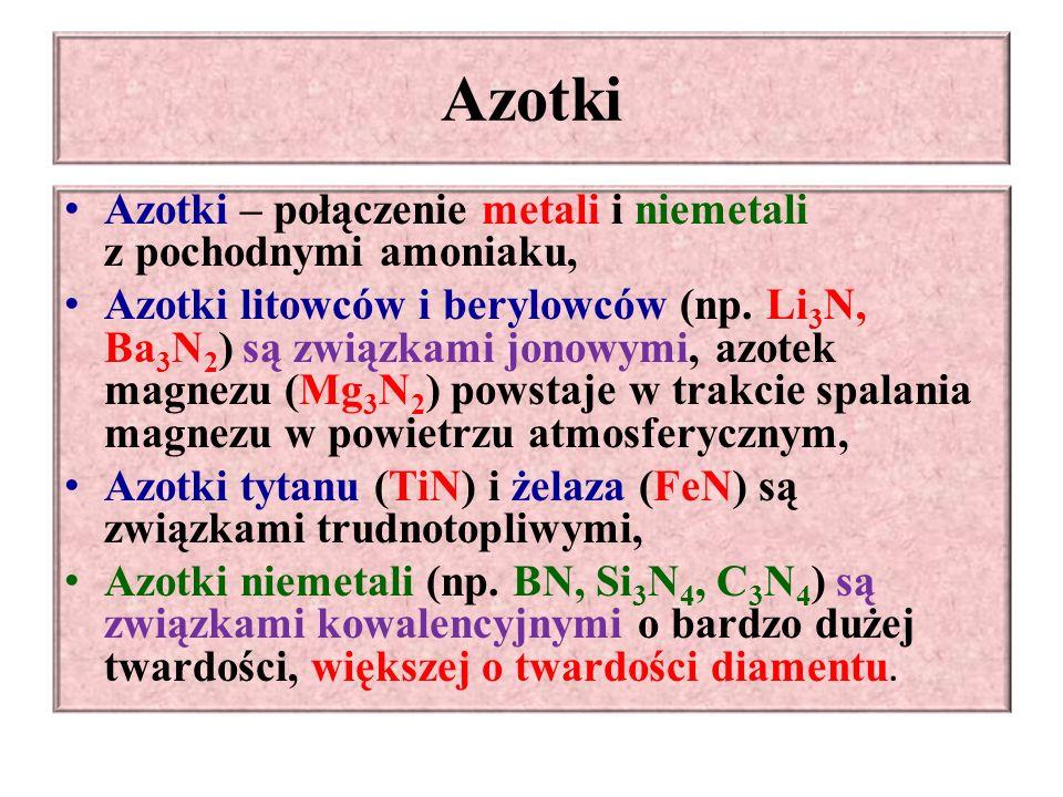 Azotki Azotki – połączenie metali i niemetali z pochodnymi amoniaku,