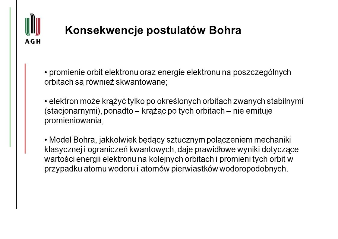 Konsekwencje postulatów Bohra