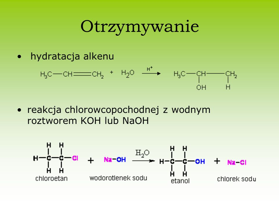 Otrzymywanie hydratacja alkenu