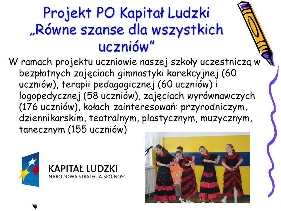 """Projekt PO Kapitał Ludzki """"Równe szanse dla wszystkich uczniów"""