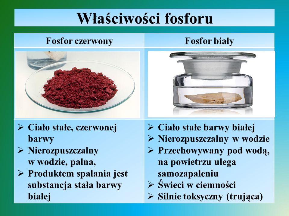 Właściwości fosforu Fosfor czerwony Fosfor biały