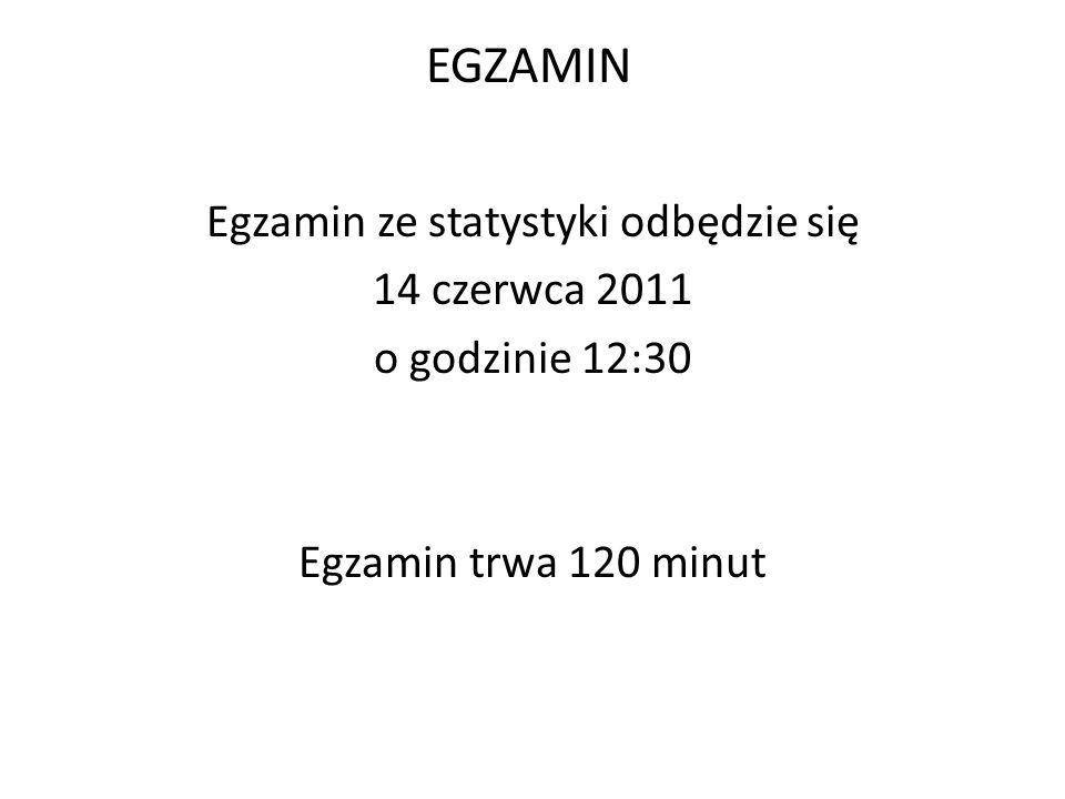 EGZAMIN Egzamin ze statystyki odbędzie się 14 czerwca 2011 o godzinie 12:30 Egzamin trwa 120 minut