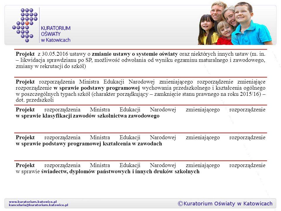 Projekt z 30.05.2016 ustawy o zmianie ustawy o systemie oświaty oraz niektórych innych ustaw (m. in. – likwidacja sprawdzianu po SP, możliwość odwołania od wyniku egzaminu maturalnego i zawodowego, zmiany w rekrutacji do szkół)