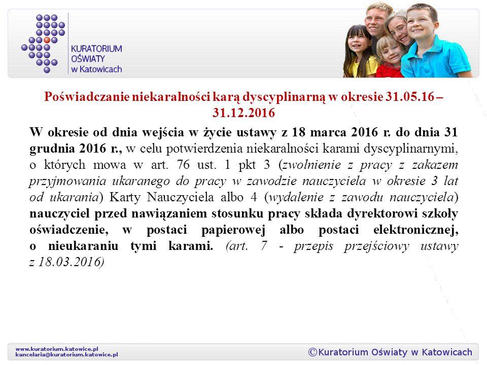 Poświadczanie niekaralności karą dyscyplinarną w okresie 31. 05