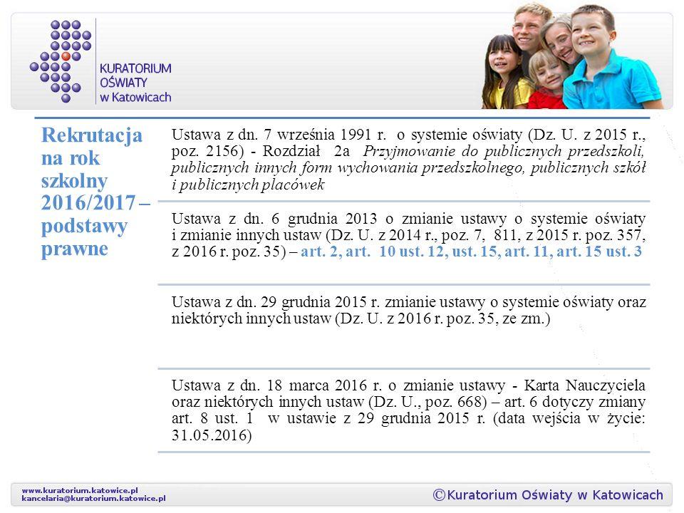 Rekrutacja na rok szkolny 2016/2017 – podstawy prawne